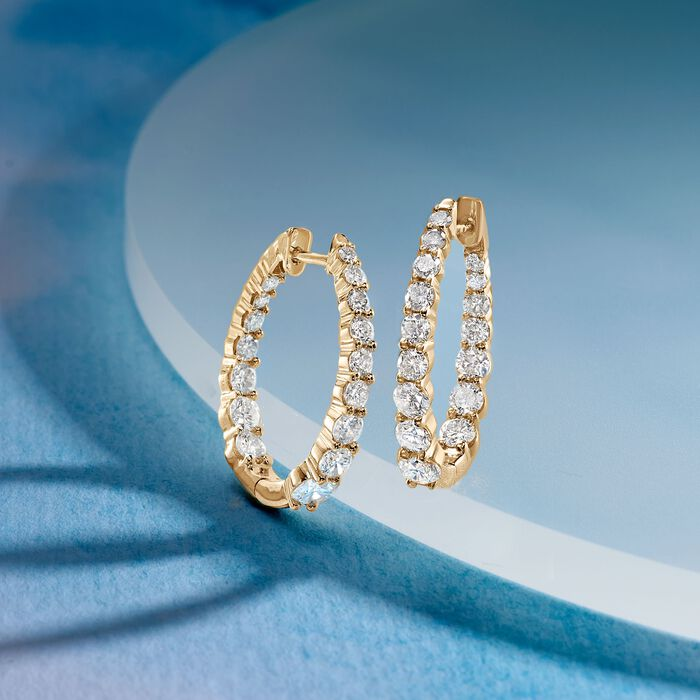 2.00 ct. t.w. Graduated Diamond Inside-Outside Hoop Earrings in 14kt Yellow Gold