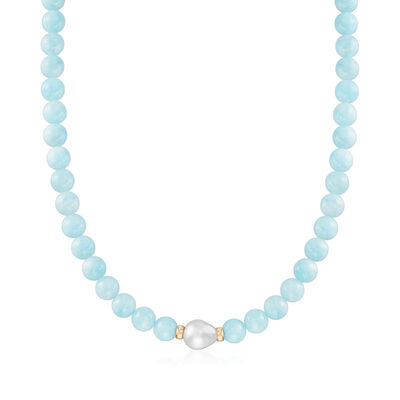 12-13mm Cultured Baroque Pearl and 230.00 ct. t.w. Aquamarine Bead Necklace in 14kt Yellow Gold