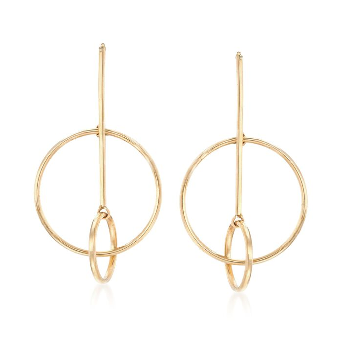 14kt Yellow Gold Linear Bar and Double Circle Drop Earrings, , default
