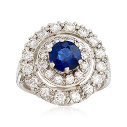 C. 2000 Vintage .90 Carat Sapphire and .75 ct. t.w. Diamond Ring in 14kt White Gold. Size 4.5, , default