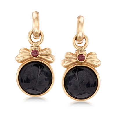 C. 1980 Vintage Black Onyx and .40 ct. t.w. Rhodolite Centurion Head Drop Earrings in 14kt Yellow Gold, , default