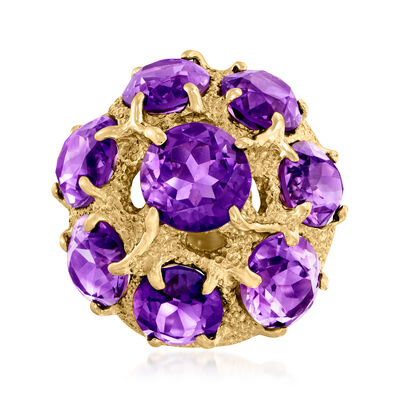 C. 1970 Vintage 14.70 ct. t.w. Amethyst Cluster Ring in 14kt Yellow Gold