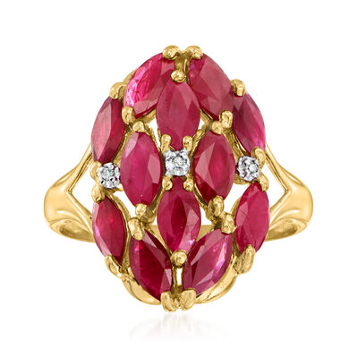 C. 1980 Vintage 3.50 ct. t.w. Ruby Cluster Ring with Diamond Accents in 14kt Yellow Gold