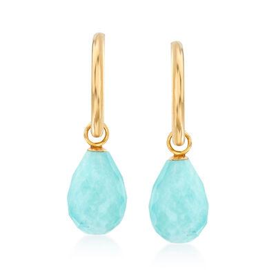 Stabilized Turquoise J-Hoop Drop Earrings in 14kt Yellow Gold, , default