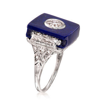 C. 2000 Vintage Lapis and 1.00 ct. t.w. Diamond Ring in 14kt White Gold. Size 6.25
