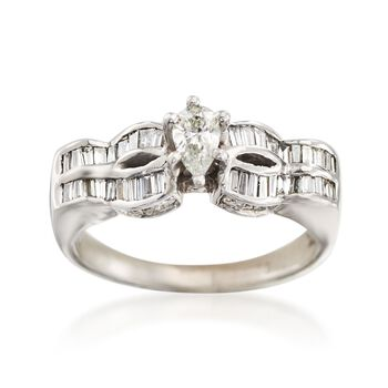 C. 1990 Vintage .95 ct. t.w. Diamond Ring in 18kt White Gold. Size 7.75, , default