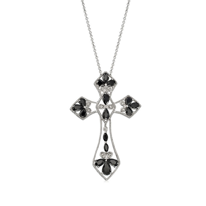 3.90 ct. t.w. Black Spinel and .10 ct. t.w. White Topaz Cross Pendant Necklace, , default