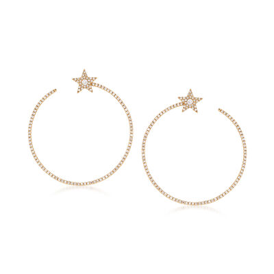 .73 ct. t.w. Diamond Star Circle Drop Earrings in 14kt Yellow Gold, , default