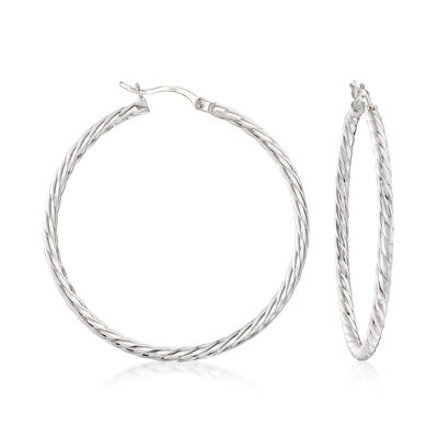 Sterling Silver Cabled Hoop Earrings, , default