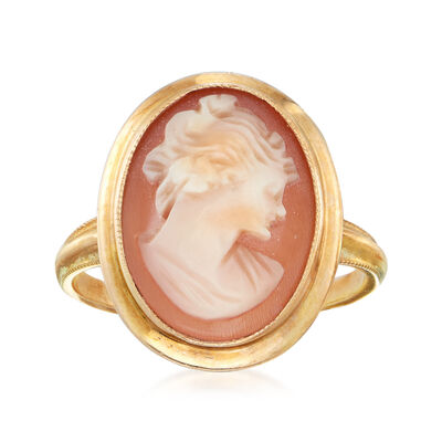 C. 1950 Vintage Pink Shell Cameo Ring in 10kt Yellow Gold, , default