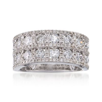 2.19 ct. t.w. Diamond Wide-Band Ring in 18kt White Gold, , default