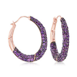 10.00 ct. t.w. Pave Amethyst Hoop Earrings in 18kt Rose Gold Over Sterling Silver, , default