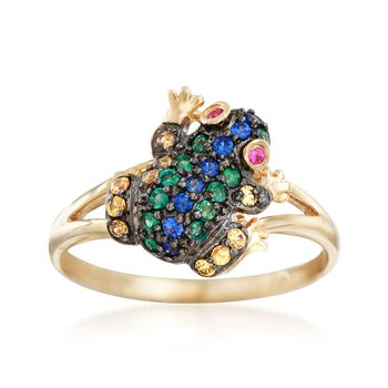 .32 ct. t.w. Multi-Stone Frog Ring in 14kt Yellow Gold, , default