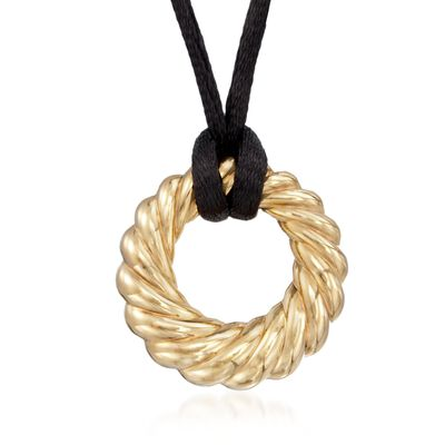 Andiamo 14kt Yellow Gold Fluted Circle and Black Silk Cord Necklace
