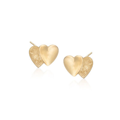 Child's 14kt Yellow Gold Double Heart Earrings, , default