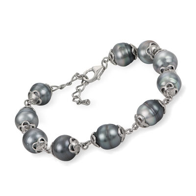 9-9.5mm Cultured Tahitian Pearl Bracelet in Sterling Silver, , default