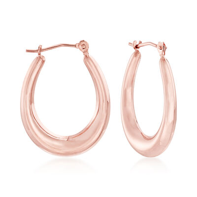 14kt Rose Gold Oval Hoop Earrings , , default