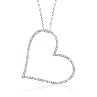 .10 ct. t.w. Diamond Heart Pendant Necklace in Sterling Silver, , default