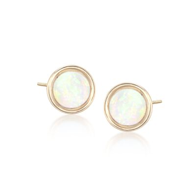 5mm Bezel-Set Opal Stud Earrings in 14kt Yellow Gold, , default