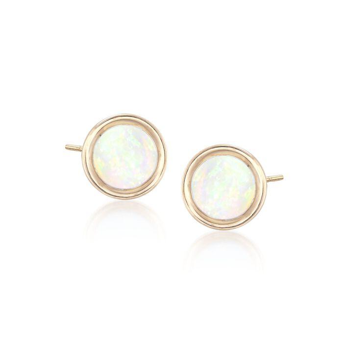 5mm Bezel-Set Opal Stud Earrings in 14kt Yellow Gold, , default