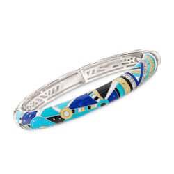 "Belle Etoile ""Constellations: Nairobi"" Turquoise-Blue Enamel Bangle Bracelet With .45 ct. t.w. CZs in Sterling, , default"