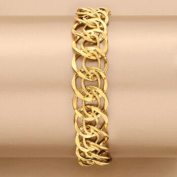 "Italian 14kt Yellow Gold Multi-Circle Link Bracelet. 7"", , default"
