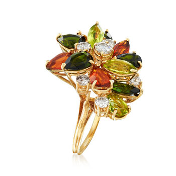 C. 1970 Vintage 5.60 ct. t.w. Multi-Stone and 1.00 ct. t.w. Diamond Cluster Ring in 18kt Yellow Gold. Size 6, , default