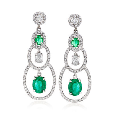 4.00 ct. t.w. Emerald and 2.94 ct. t.w. Diamond Drop Earrings in 18kt White Gold, , default