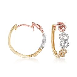 ".38 ct. t.w. Diamond Infinity-Link Hoop Earrings in 14kt Tri-Colored Gold. 5/8"", , default"