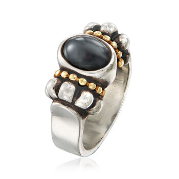 C. 1990 Vintage Hematite Oval Ring in Sterling Silver and 14kt Yellow Gold. Size 7.25, , default