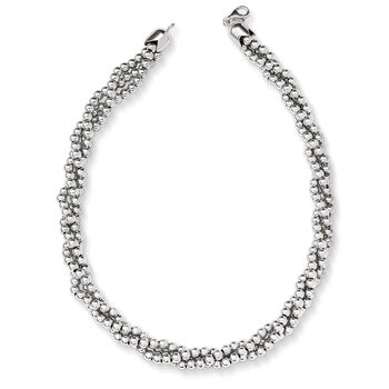 Italian Sterling Silver Twisted Bead Necklace