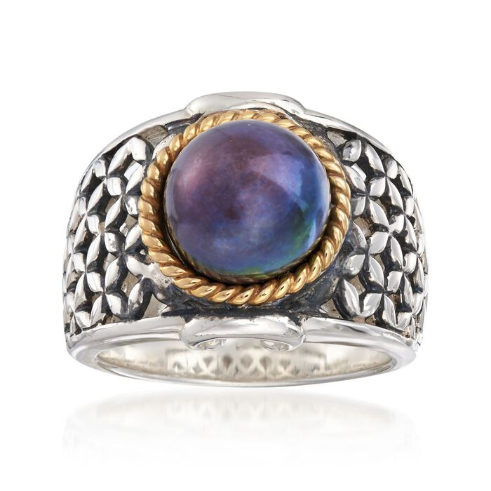 9.5-10mm Black Cultured Button Pearl Ring in Two-Tone Sterling Silver, , default