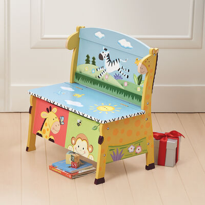 Sunny Safari Child's Wooden Storage Bench , , default