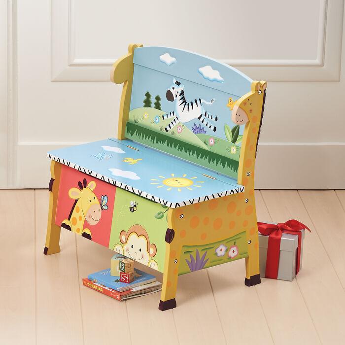 Sunny Safari Child's Wooden Storage Bench , , default