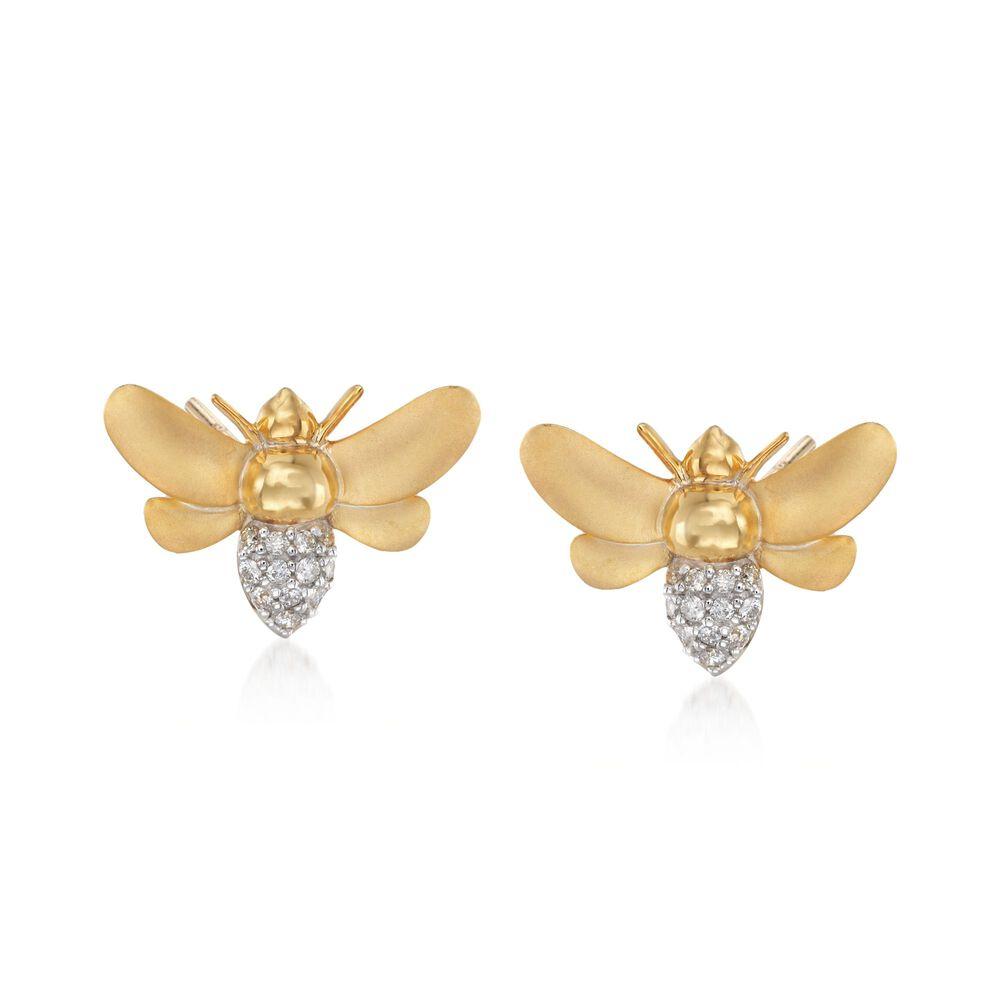 T W Diamond Bee Earrings In 14kt Gold Over Sterling Default