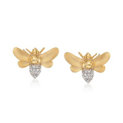 .10 ct. t.w. Diamond Bee Earrings in 14kt Gold Over Sterling, , default