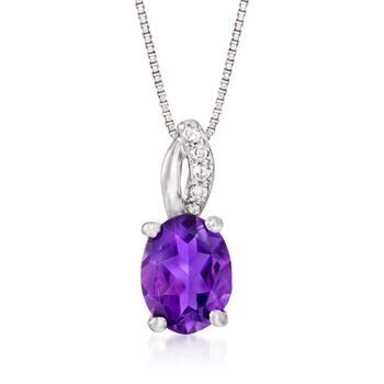 """1.60 Carat Amethyst Pendant Necklace With Diamond Accents in Sterling Silver. 18"""", , default"""