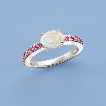 Ethiopian Opal and .70 ct. t.w. Rhodolite Ring in Sterling Silver, , default