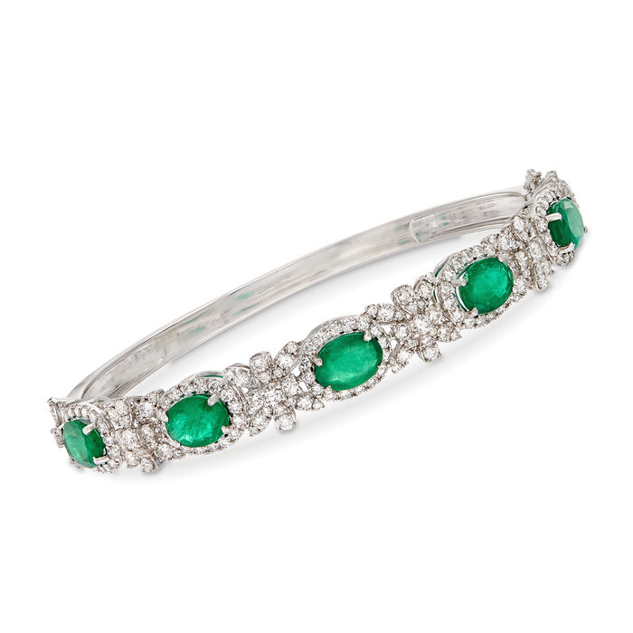 """5.50 ct. t.w. Emerald and 3.20 ct. t.w. Diamond Bangle Bracelet in 18kt White Gold. 7.5"""", , default"""