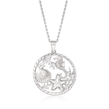 "Sterling Silver Sea Life Pendant Necklace. 18"", , default"
