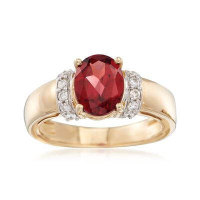 2.10 Carat Oval Garnet and .16 ct. t.w. Diamond Ring in 14kt Yellow Gold, , default