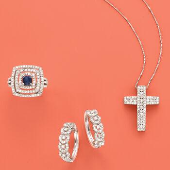 1.00 ct. t.w. Diamond Cross Pendant Necklace in Sterling Silver, , default