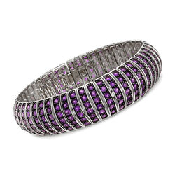 17.00 ct. t.w. Amethyst Multi-Row Bracelet in Sterling Silver, , default