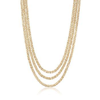 "18kt Gold Over Sterling Three-Strand Byzantine Necklace. 20"", , default"