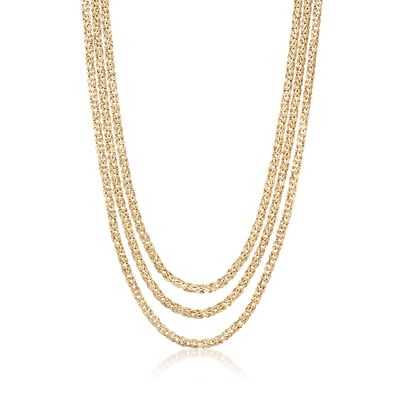 18kt Gold Over Sterling Three-Strand Byzantine Necklace, , default