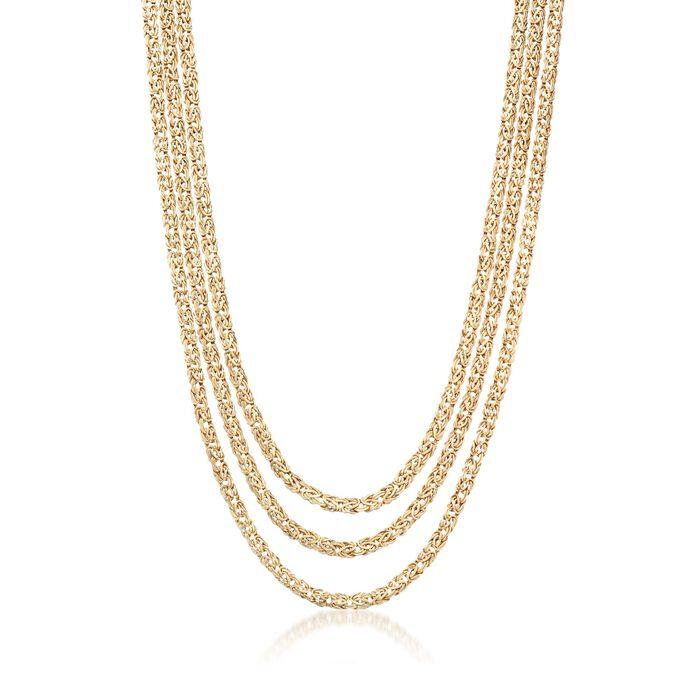 18kt Gold Over Sterling Three-Strand Byzantine Necklace, , default