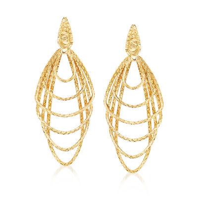 Italian Multi-Shape  Drop Earrings in 18kt Yellow Gold, , default