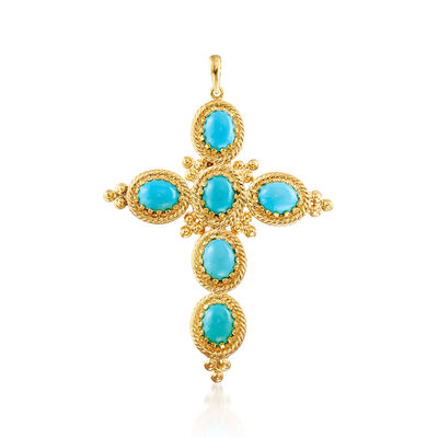 Italian Stabilized Turquoise Cross Pendant in 18kt Gold Over Sterling, , default