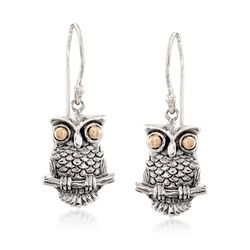 Two-Tone Sterling Silver Owl Drop Earrings, , default