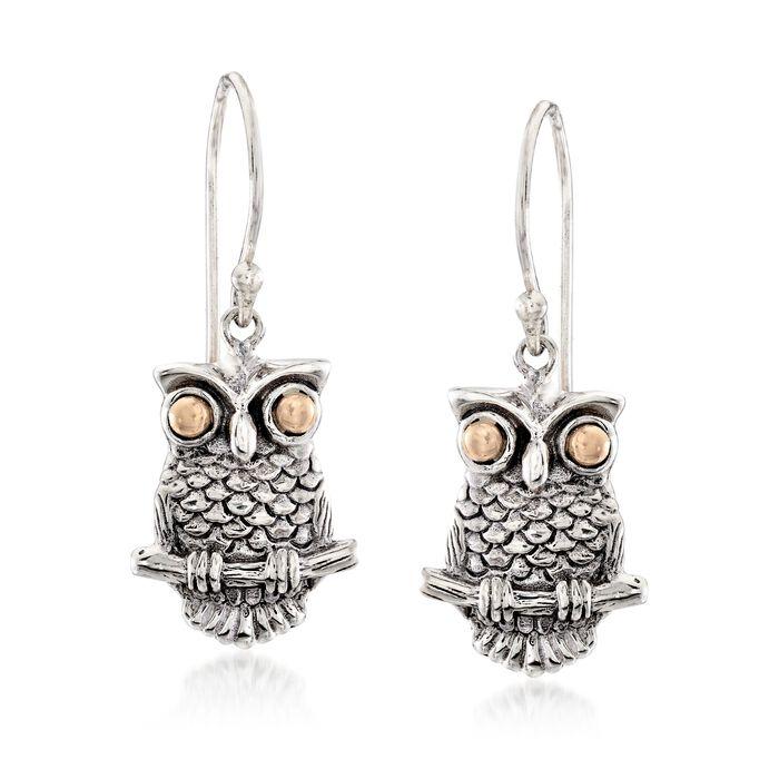 Two-Tone Sterling Silver Owl Drop Earrings, , default